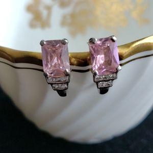 Emerald cut pink CZ